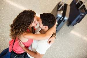Couple embraced at airport!